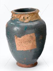 Earthenware storage jar for medical preparations  Indian  1801-1920.