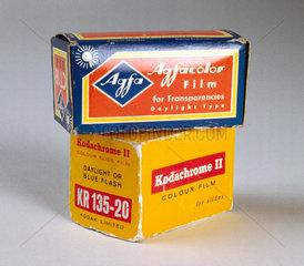 Boxes of film for colour slides  c 1960.