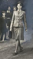 Schoolgirl in uniform  Durham  9 December 1961.