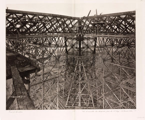 Scaffolding  construction of the Eiffel Tower  Paris  14 January 1888.
