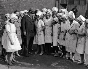 Ernest Bevin canvassing female factory workers  Gateshead  15 October 1931.