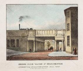 'Bridge over Water Street  Manchester'  mid 19th century.