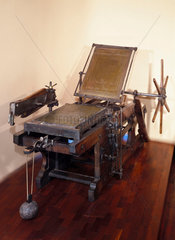 Lithographic printing press  c 1860.