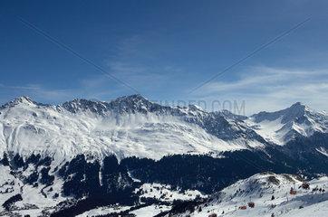 Valbella  Schweiz  die Gipfel zwischen Parpaner Weisshorn und Lenzerhorn