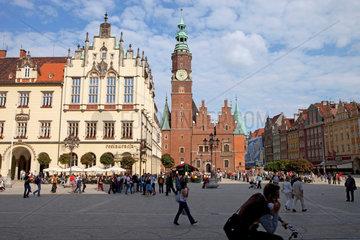 Breslau  Polen  Marktplatz Rynek in der Altstadt mit dem Rathaus