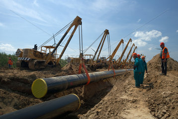 Schulzendorf  Deutschland  absenken der OPAL-Gasleitung mit Seitenbaumraupen