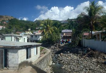 Massacre  Dominica  ein fast ausgetrocknetes Flussbett in Massacre