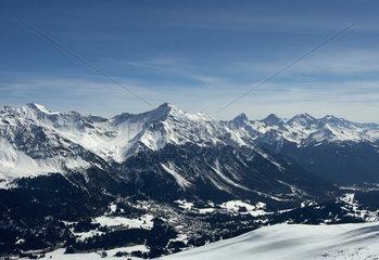 Valbella  Schweiz  die Gipfel rund um das Lenzerhorn