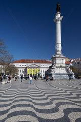 Lissabon  Portugal  Bronzestatue Pedros IV. auf dem Rossio