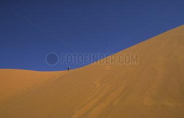 Merzouga  Marokko  Touristen bei einer Wanderungen durch Erg Chebbi