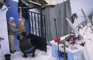 Chefchaouen  Marokko  Einheimische waehrend der Vorbereitung fuer das Opferfest