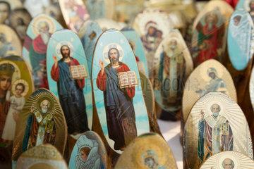 Chisinau  Moldau  Verkauf von Heiligenbildern am Tag der Unabhaengigkeit