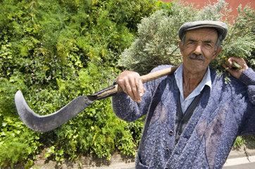 Almaciga  Spanien  ein Bauer im Anaga-Gebirge