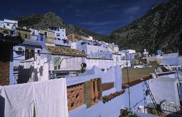 Chefchaouen  Marokko  die Haeuser der Altstadt im Rif-Gebirge