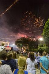 Chisinau  Moldau  Feuerwerk am Tag der Unabhaengigkeit