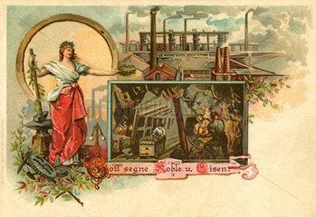 Gott segne Kohle und Eisen  Postkarte  1902