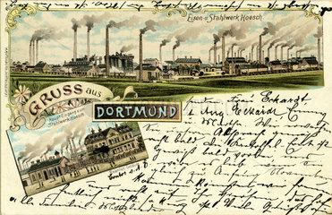 Gruss aus Dortmund  Stahlwerk Hoesch  1898