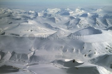 Europe  Denmark  aerial view of the mountains of Greenland