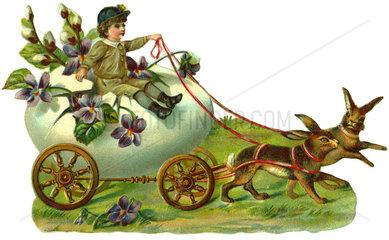 Osterhasen ziehen Kutsche mit Osterei  1912