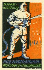 Asbestkleidung fuer Feuerwehrleute  Reklamemarke  1912