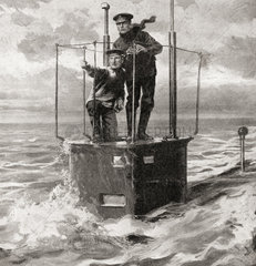 A British naval captain and one of his crew on the conning tower of a submarine during WWI. From The War Illustrated Album Deluxe  published 1915.