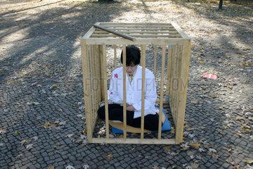 Protestaktion von Mitglieder der Falun Gong Bewegung