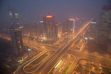 Peking  die Skyline mit Smog