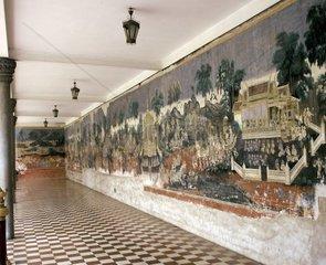 Cambodia  Phnom Penh  Royal Palace  mural paintings
