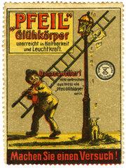 Werbung fuer Pfeil Gluehkoerper  1910