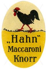 Knorr Maccaroni  Werbung  1910