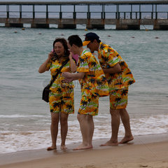 Sanya  tourists on the beach