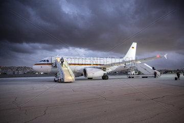 Flugzeug der Bundesrepublik Deutschland auf dem Flughafen von Amman