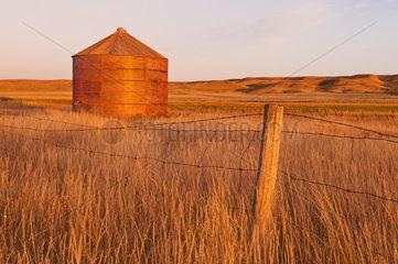 Abandoned grain bin; Thunder Creek  Saskatchewan  Canada
