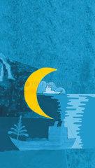 Mond und Schiff