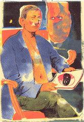 Mann mit zeitschrift