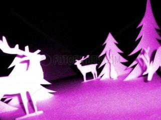 X-mas Weihnachten 3-D Winterwald Schneelandschaft Norden Rentiere pink