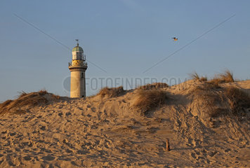 Warnemuende  Leuchtturm hinter einer Sandduene am Morgen