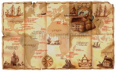 Dekorative Karte Schifffahrt Schatzkarte gesunkene Schiffe
