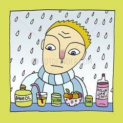 Erkaeltung Hausmittel alternative Medizin Mann