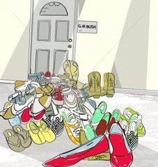 Shoes out Please Bush Journalist