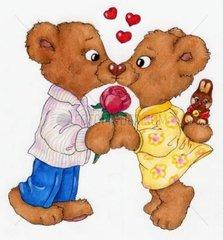Gluecksbaerchen Serie Paerchen Herz Rose Osterei schenken Kuss