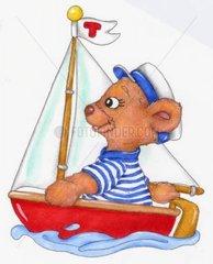 Gluecksbaerchen mit Segelboot