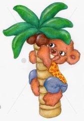 Gluecksbaerchen klettert auf Palme