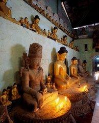 Interior of the Shit-thaung Buddhist temple Mrauk-U  Arakan  Burma