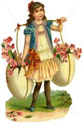 Maedchen mit Kiepe voller Kirschblueten  Fruehlingssymbol  1890