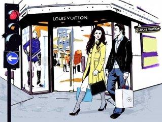 Shopping Ampel Einkaufsstrasse Paar