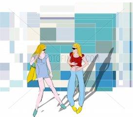 Shopping zwei Freundinnen