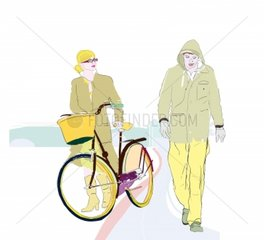 Paar Fahrrad schieben