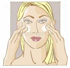 Serie Koerperpflege Gesicht eincremen