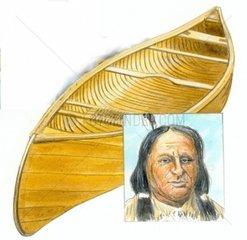 Serie Schiffe Zedernholzkanu Huronindianer Kanada
